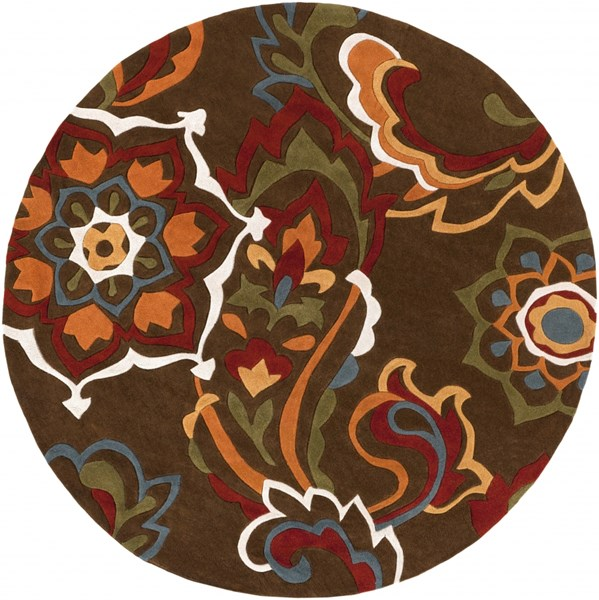 Cosmopolitan Chocolate Burgundy Olive Polyester Area Rug (L 96 X W 96) COS9056-8RD