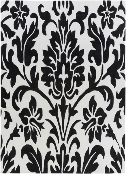 Cosmopolitan Black Ivory Polyester Area Rug (L 132 X W 96) COS9062-811