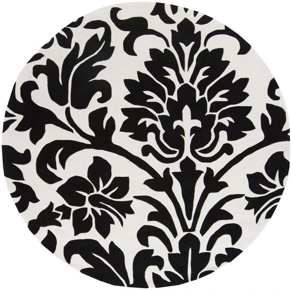 Cosmopolitan Contemporary Black Ivory Polyester Area Rug (L 96 X W 96) COS9062-8RD