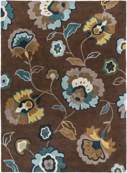 Cosmopolitan Chocolate Olive Forest Polyester Area Rug (L 132 X W 96) COS9090-811