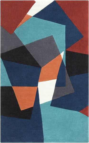 Cosmopolitan Rust Navy Teal Polyester Area Rug (L 96 X W 60) COS9125-58