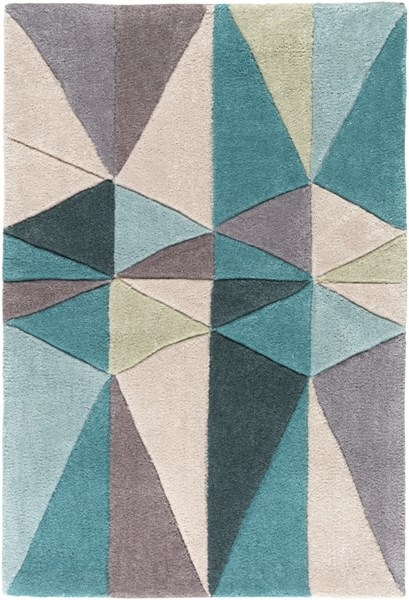 Cosmopolitan Teal Taupe Beige Polyester Area Rug (L 36 X W 24) COS9169-23