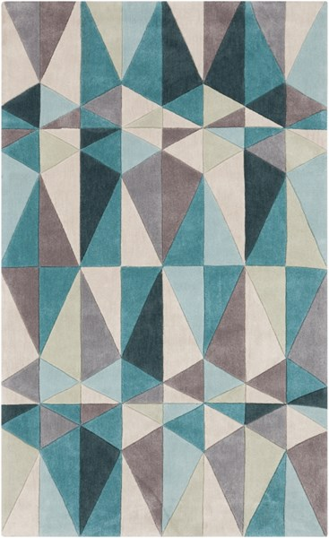 Cosmopolitan Teal Taupe Beige Polyester Area Rug (L 96 X W 60) COS9169-58