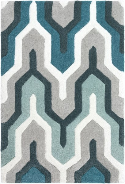Cosmopolitan Contemporary Ivory Light Gray Teal Polyester Area Rugs 707-VAR1