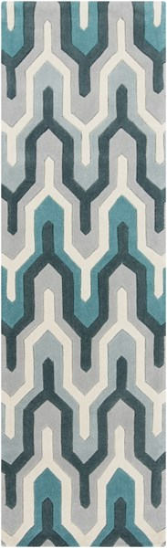 Cosmopolitan Ivory Light Gray Teal Polyester Runner (L 96 X W 30) COS9175-268