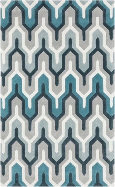 Cosmopolitan Ivory Light Gray Teal Polyester Area Rug (L 96 X W 60) COS9175-58