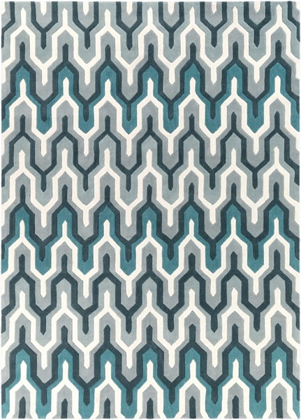 Cosmopolitan Ivory Light Gray Teal Polyester Area Rug (L 132 X W 96) COS9175-811