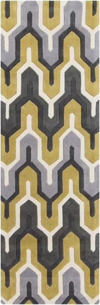 Cosmopolitan Ivory Charcoal Gold Polyester Runner (L 96 X W 30) COS9177-268