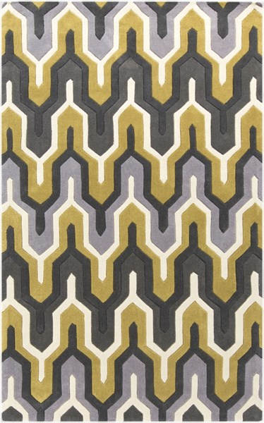 Cosmopolitan Ivory Charcoal Gold Polyester Area Rug (L 96 X W 60) COS9177-58