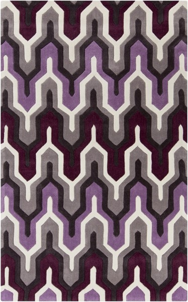 Cosmopolitan Ivory Eggplant Charcoal Polyester Area Rug  (L 96 X W 60) COS9178-58