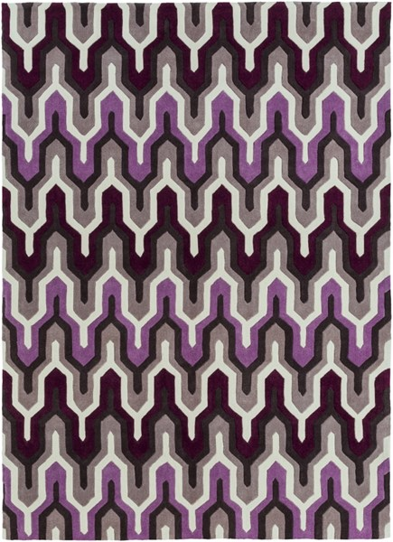 Cosmopolitan Ivory Eggplant Charcoal Polyester Area Rug (L 132 X W 96) COS9178-811