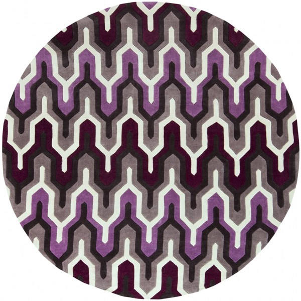 Cosmopolitan Ivory Eggplant Charcoal Polyester Area Rug (L 96 X W 96) COS9178-8RD