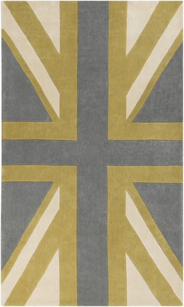 Cosmopolitan Gray Gold Beige Polyester Area Rug (L 96 X W 60) COS9186-58