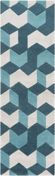 Cosmopolitan Teal Light Gray Polyester Runner (L 96 X W 30) COS9189-268