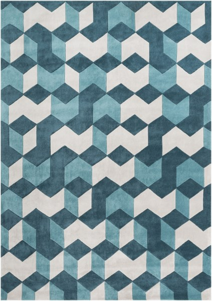 Cosmopolitan Teal Light Gray Polyester Area Rug (L 132 X W 96) COS9189-811