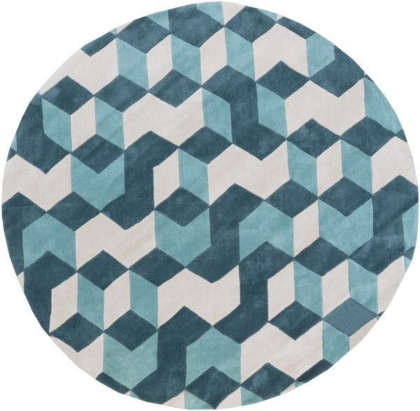 Cosmopolitan Teal Light Gray Polyester Round Area Rug (L 96 X W 96) COS9189-8RD