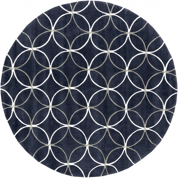 Cosmopolitan Gray Navy Ivory Polyester Round Area Rug (L 96 X W 96) COS9190-8RD