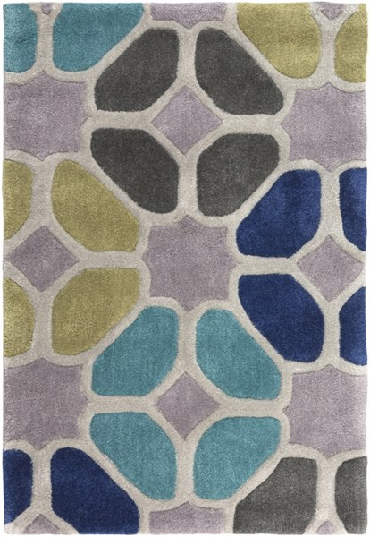 Cosmopolitan Lime Light Gray Cobalt Polyester Area Rug (L 36 X W 24) COS9193-23