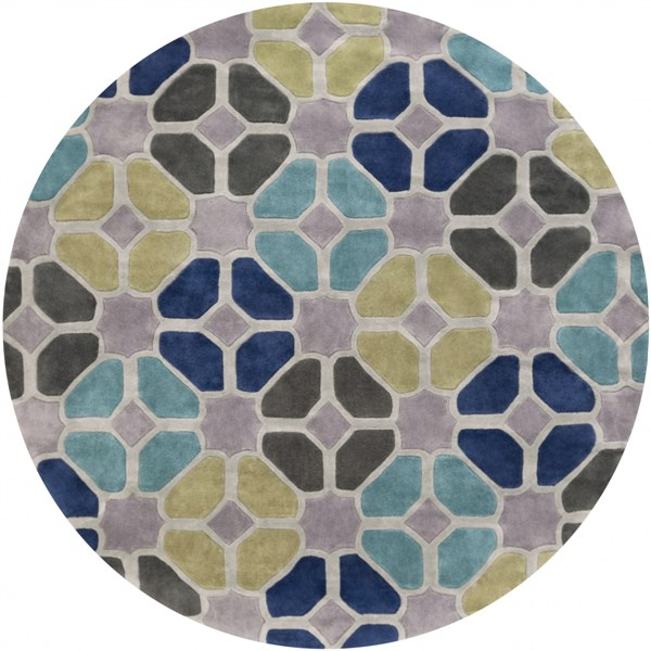 Cosmopolitan Lime Light Gray Cobalt Polyester Area Rug (L 96 X W 96) COS9193-8RD