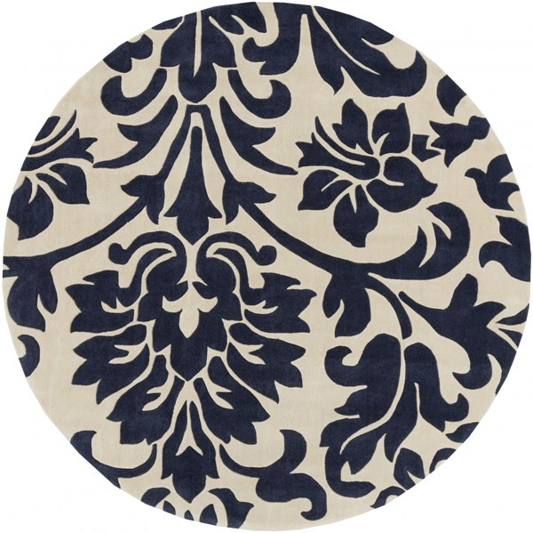Cosmopolitan Contemporary Beige Navy Polyester Area Rug (L 96 X W 96) COS9194-8RD