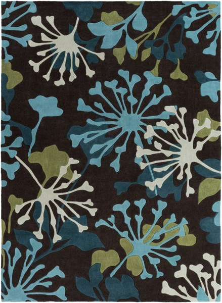 Cosmopolitan Chocolate Teal Olive Polyester Area Rug (L 132 X W 96) COS9198-811