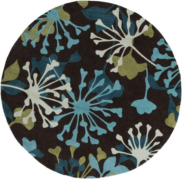Cosmopolitan Chocolate Teal Olive Polyester Area Rug (L 96 X W 96) COS9198-8RD