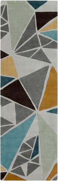 Cosmopolitan Modern Gray Gold Teal Polyester Runner (L 96 X W 30) COS9199-268