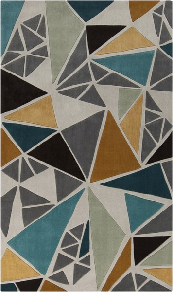 Cosmopolitan Modern Gray Gold Teal Polyester Area Rug (L 96 X W 60) COS9199-58