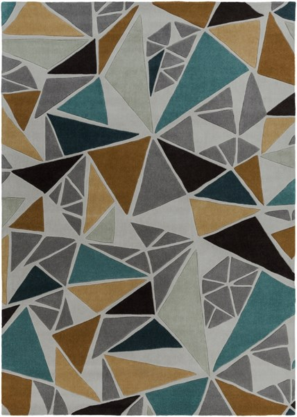 Cosmopolitan Modern Gray Gold Teal Polyester Area Rug (L 132 X W 96) COS9199-811