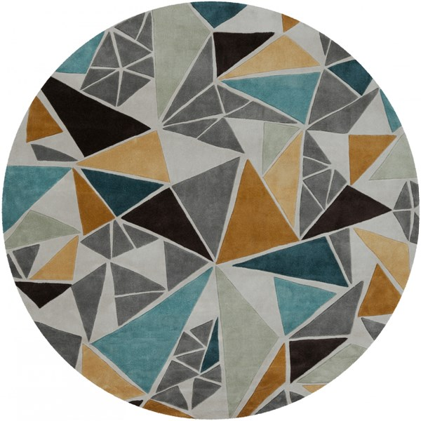 Cosmopolitan Modern Gray Gold Teal Polyester Area Rug (L 96 X W 96) COS9199-8RD
