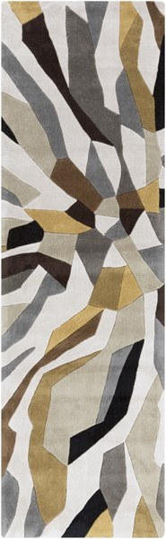 Cosmopolitan Light Gray Gold Olive Polyester Runner (L 96 X W 30) COS9200-268