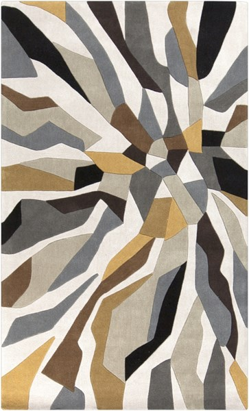 Cosmopolitan Light Gray Gold Olive Polyester Area Rug (L 96 X W 60) COS9200-58