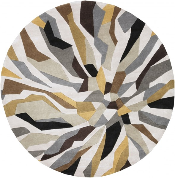 Cosmopolitan Light Gray Gold Olive Polyester Area Rug (L 96 X W 96) COS9200-8RD