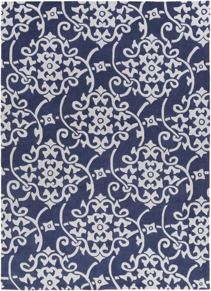 Cosmopolitan Contemporary Navy Ivory Polyester Area Rug (L 132 X W 96) COS9201-811