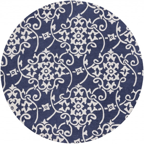 Cosmopolitan Contemporary Navy Ivory Polyester Area Rug (L 96 X W 96) COS9201-8RD