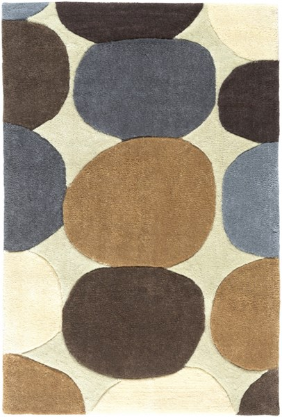 Cosmopolitan Contemporary Beige Chocolate Gold Polyester Area Rugs 43-VAR1