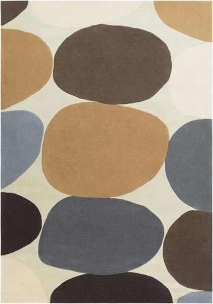 Cosmopolitan Beige Chocolate Gold Polyester Area Rug (L 132 X W 96) COS9203-811