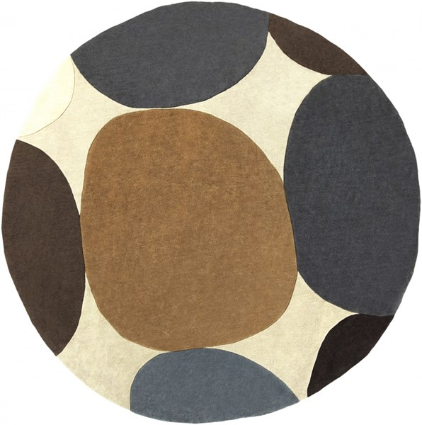 Cosmopolitan Beige Chocolate Gold Polyester Area Rug (L 96 X W 96) COS9203-8RD