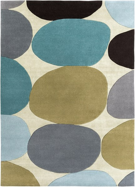 Cosmopolitan Modern Olive Slate Teal Polyester Area Rug (L 132 X W 96) COS9204-811