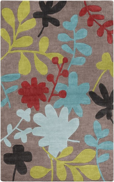 Cosmopolitan Slate Teal Cherry Polyester Area Rug (L 96 X W 60) COS9207-58