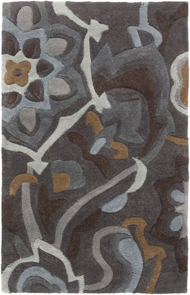 Cosmopolitan Charcoal Olive Light Gray Polyester Area Rugs 511-VAR1