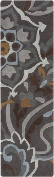 Cosmopolitan Charcoal Olive Light Gray Polyester Runner (L 96 X W 30) COS9210-268