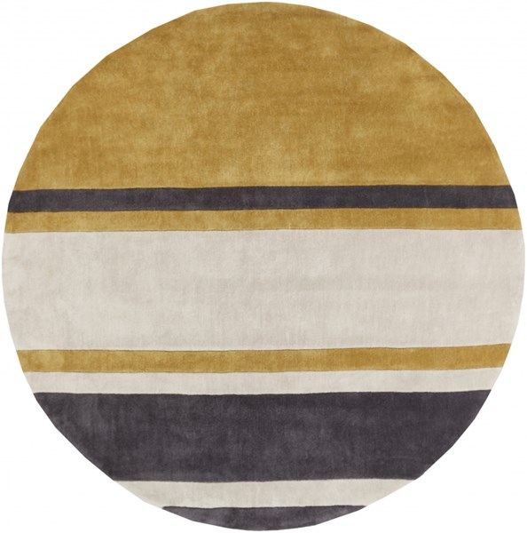 Cosmopolitan Beige Gold Charcoal Polyester Area Rug (L 96 X W 96) COS9215-8RD