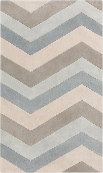 Cosmopolitan Sky Blue Ivory Gray Polyester Area Rug (L 96 X W 60) COS9216-58