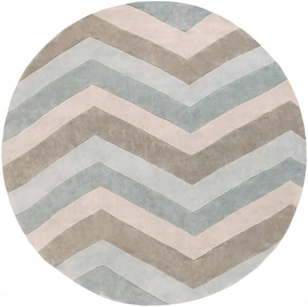 Cosmopolitan Sky Blue Ivory Gray Polyester Area Rug (L 96 X W 96) COS9216-8RD