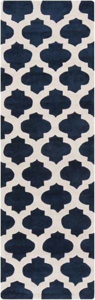 Cosmopolitan Navy Ivory Polyester Runner (L 96 X W 30) COS9226-268