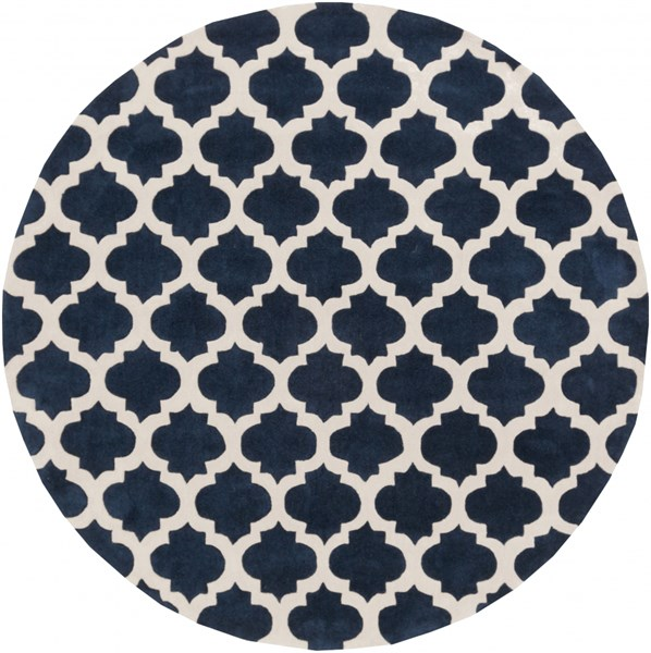 Cosmopolitan Navy Ivory Polyester Area Rug (L 96 X W 96) COS9226-8RD