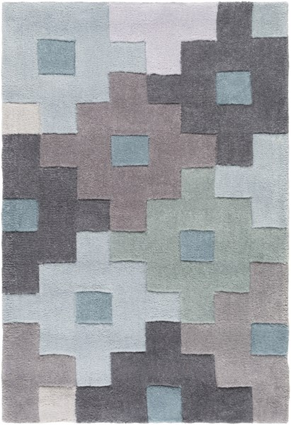 Cosmopolitan Charcoal Gray Teal  Polyester Area Rug (L 36 X W 24) COS9231-23