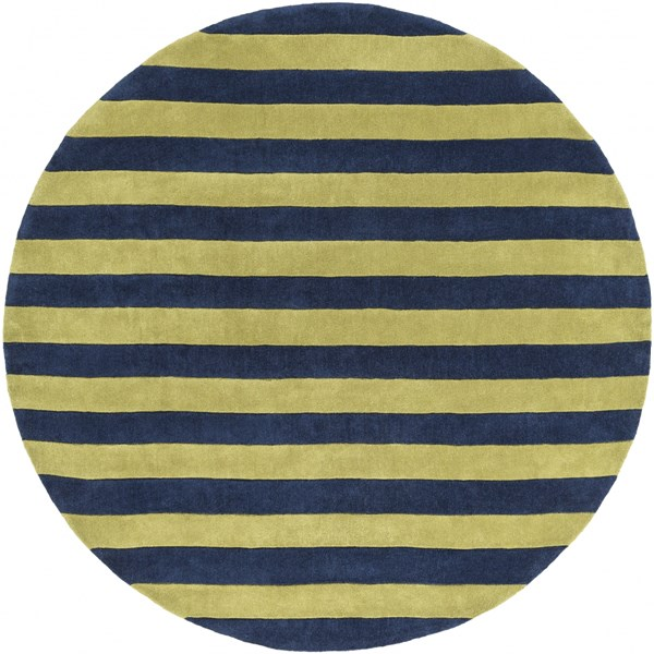 Cosmopolitan Contemporary Lime Navy Polyester Area Rug (L 96 X W 96) COS9249-8RD
