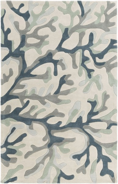 Cosmopolitan Light Gray Teal Navy Polyester Area Rug (L 96 X W 60) COS9262-58